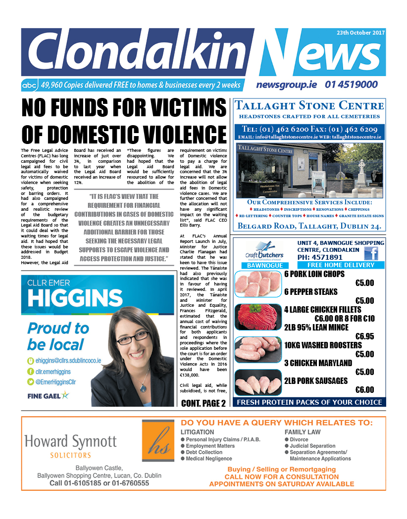 Clondalkin News Front Cover Oct 16 2017
