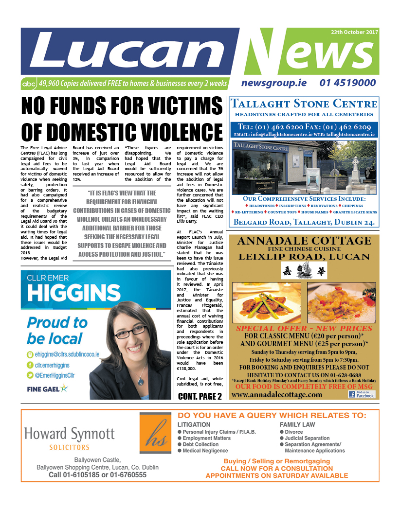 Lucan News Front Cover Oct 16 2017