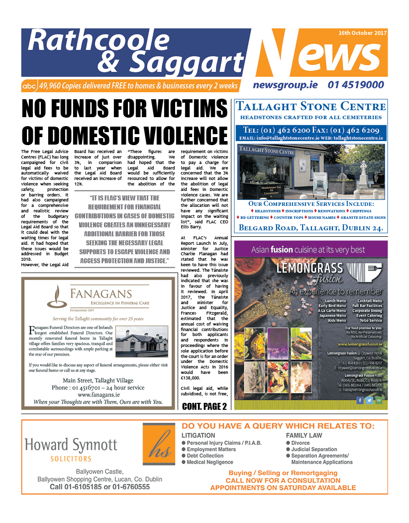 Rathcoole and Saggart News Front Cover Oct 16 2017