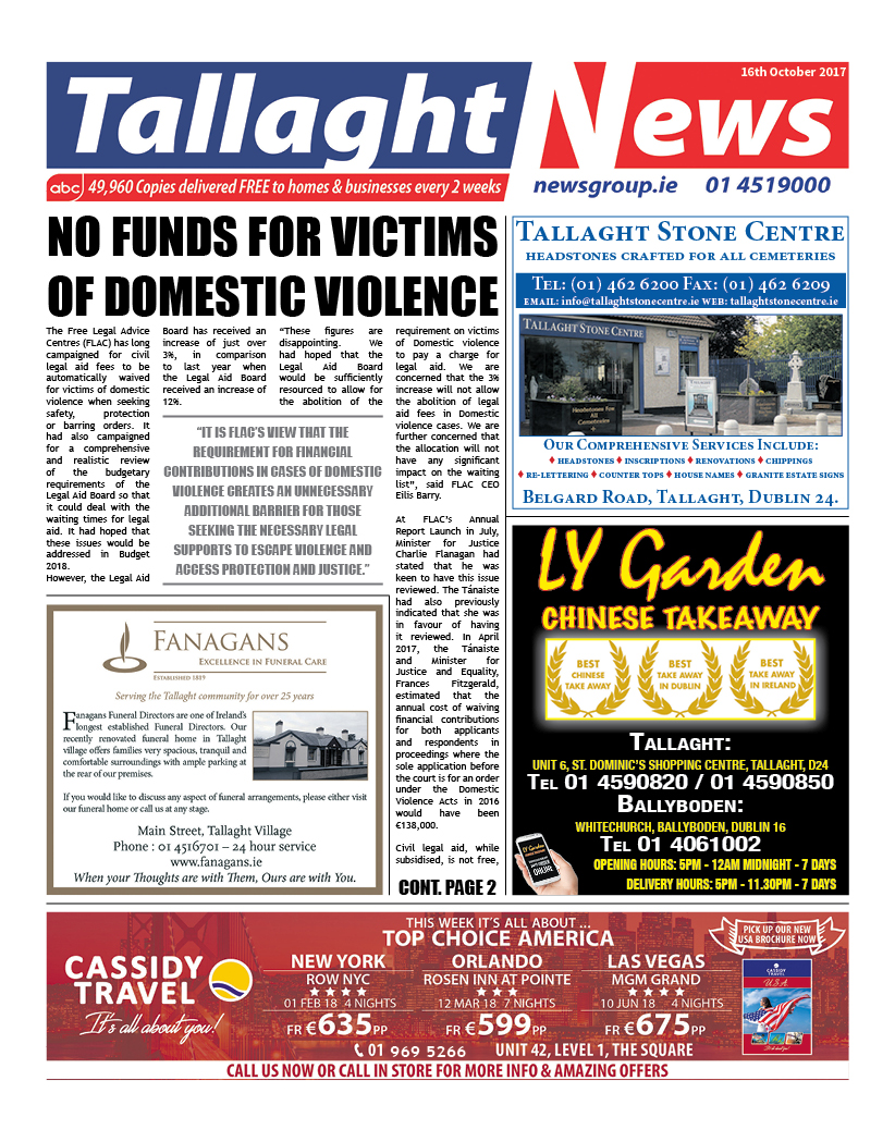 Tallaght News Front Page 16th October 2017