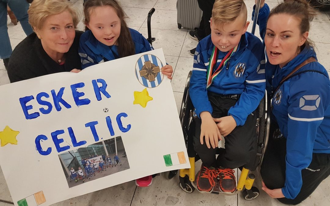 Frances Fitzgerald T.D. and Cllr. Vicki Casserly Congratulate Esker Celtic Frame Football Team