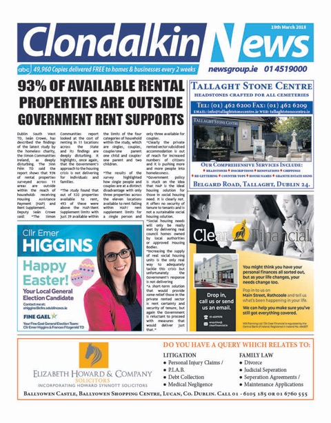 Clondalkin News Front Cover March 19th 2018