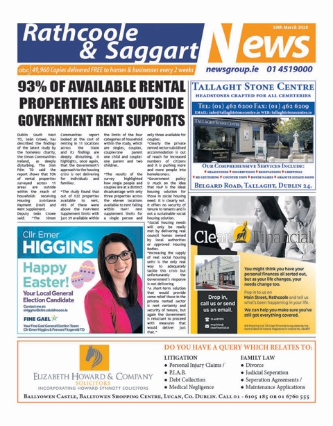 Rathcoole and Saggart News Front Cover March 19th 2018