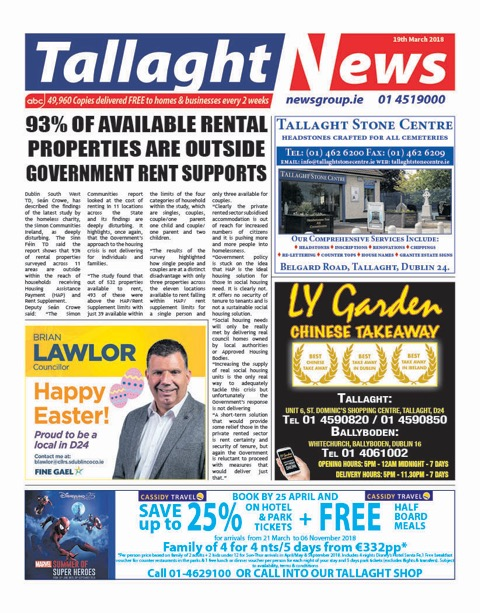 Tallaght News Front Page 19th March 2018