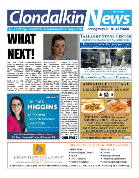 Clondalkin News Front Cover May 14th 2018