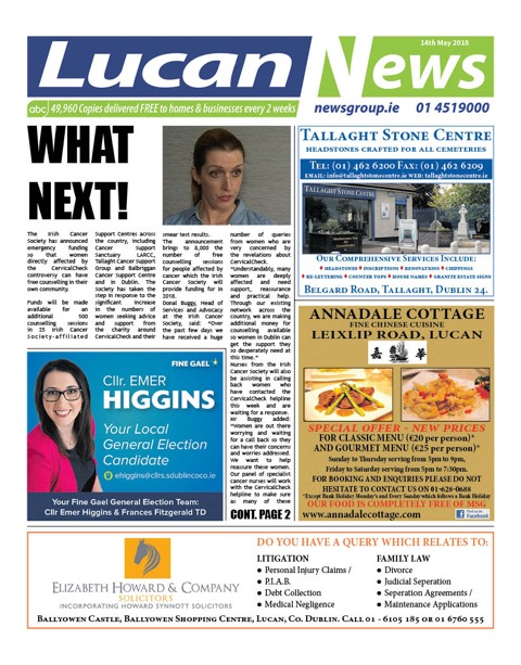 Lucan News Front Cover May 14th 2018