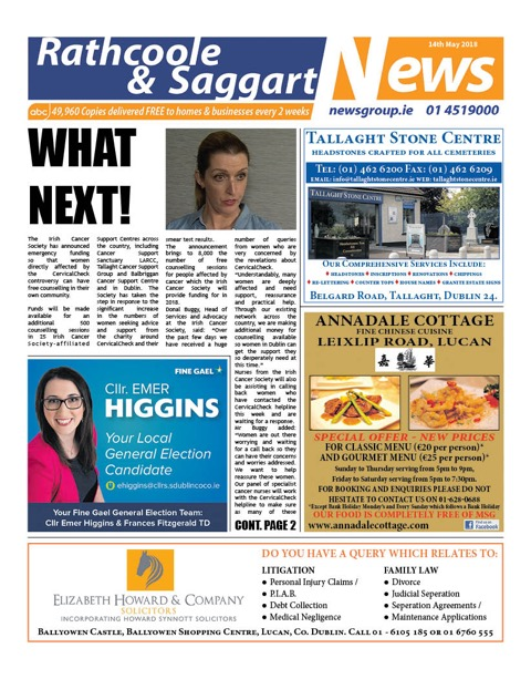 Rathcoole and Saggart News Front Cover May 14th 2018
