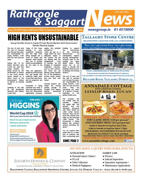 Rathcoole and Saggart News Front Cover Jun 11th 2018