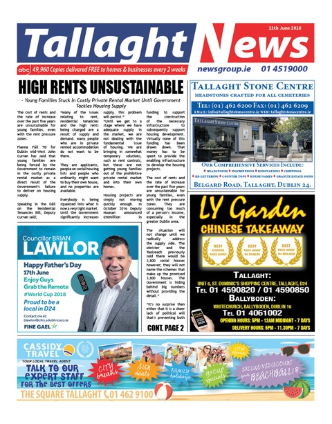 Tallaght News Front Page 11th Jun 2017