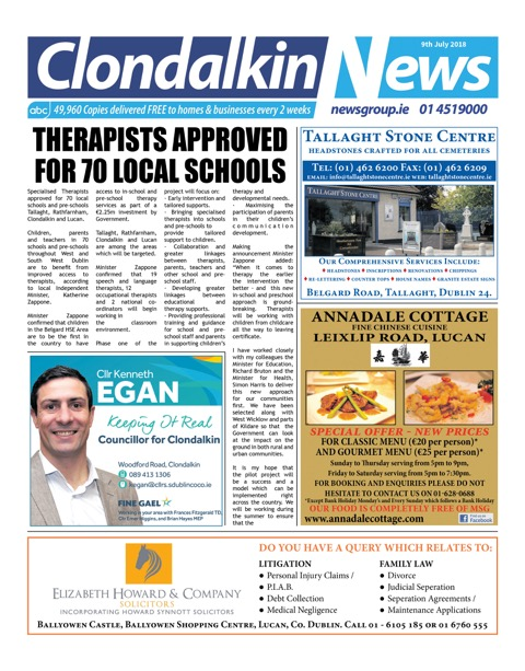Clondalkin News Front Cover Jul 9th 2018