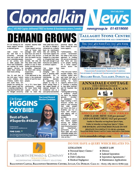 Clondalkin News Front Cover Jul 23rd 2018