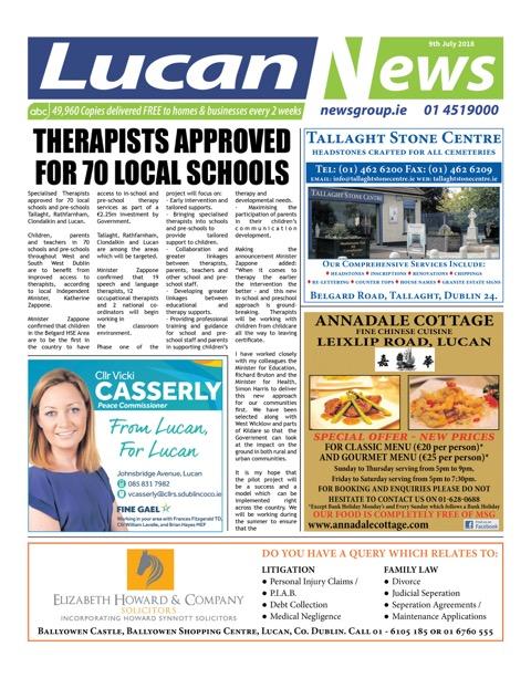 Lucan News Front Cover Jun 25th 2018