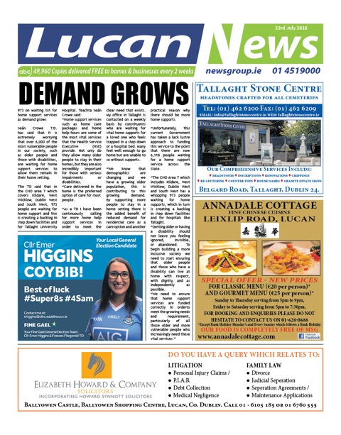 Lucan News Front Cover Jun 23rd 2018