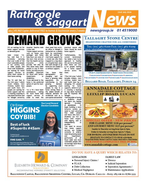 Rathcoole and Saggart News Front Cover Jul 23rd 2018