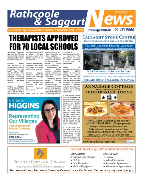 Rathcoole and Saggart News Front Cover Jul 9th 2018