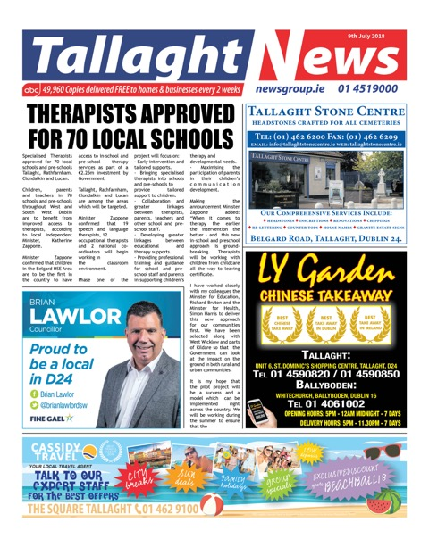 Tallaght News Front Page 9th Jul 2017