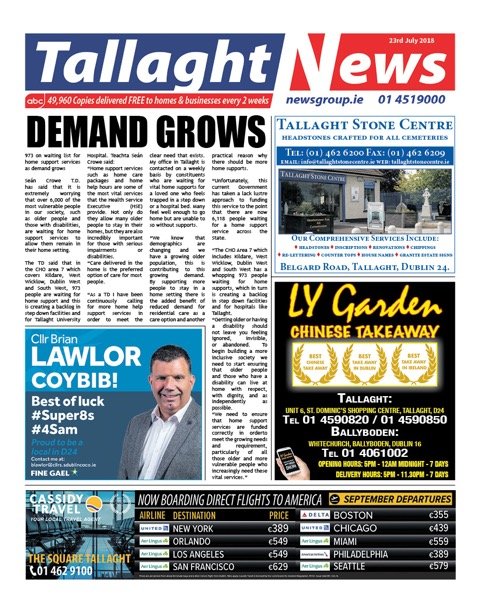 Tallaght News Front Page 23rd Jul 2018