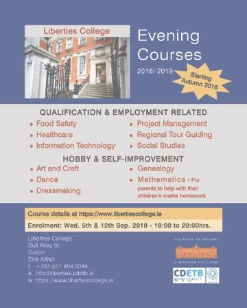 Liberties College Evening Courses 2018