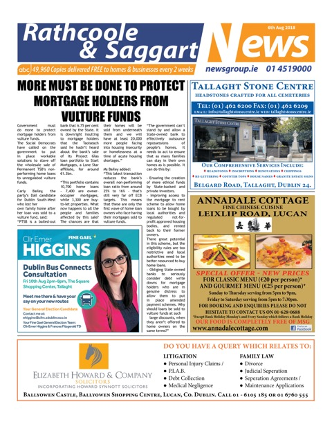 Rathcoole and Saggart News Front Cover Aug 6th 2018