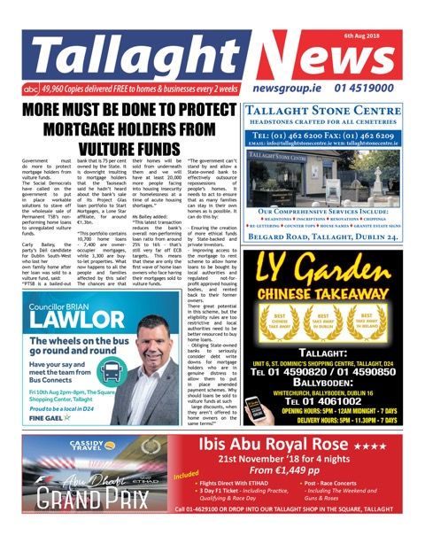 Tallaght News Front Page 6th Aug 2018