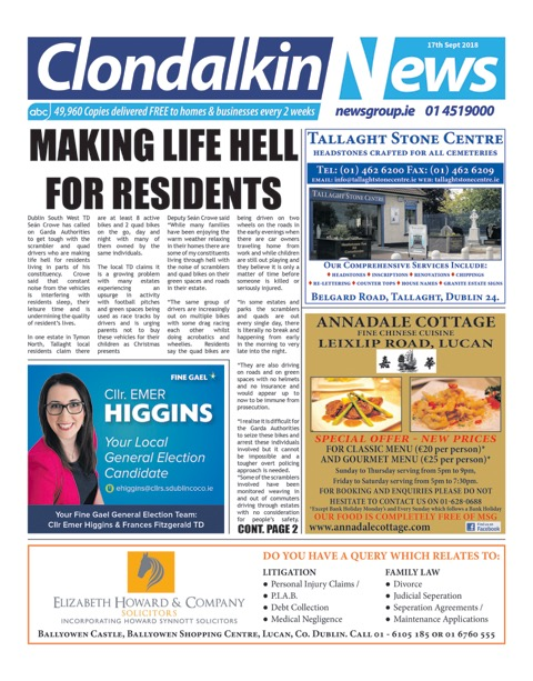 Clondalkin News Front Cover Sep 17th 2018
