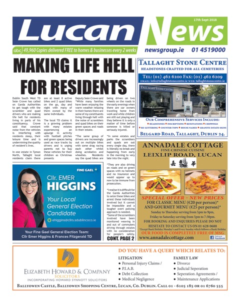 Lucan News Front Cover Sep 17th 2018