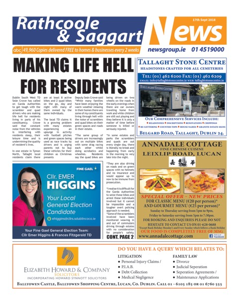Rathcoole and Saggart News Front Cover Sep 17th 2018