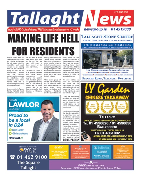Tallaght News Front Page 17th Sep 2018