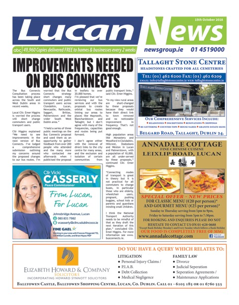 Lucan News Front Cover Oct 15th 2018
