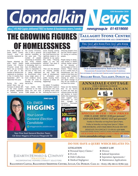 Clondalkin News Front Cover Nov 12th 2018
