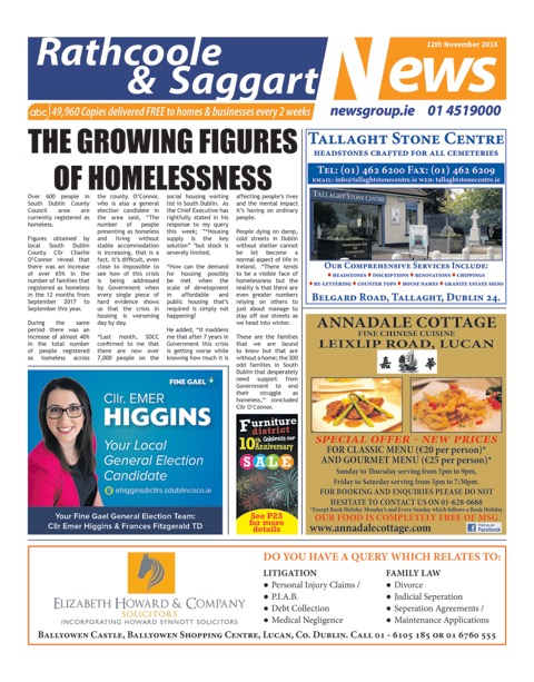 Rathcoole and Saggart News Front Cover Nov 12th 2018