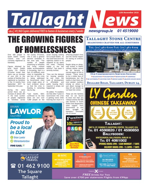 Tallaght News Front Page 12th Nov 2018