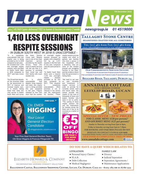Lucan News Front Cover Dec 7th 2018