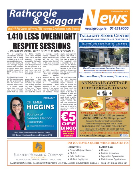Rathcoole and Saggart News Front Cover Dec 7th 2018