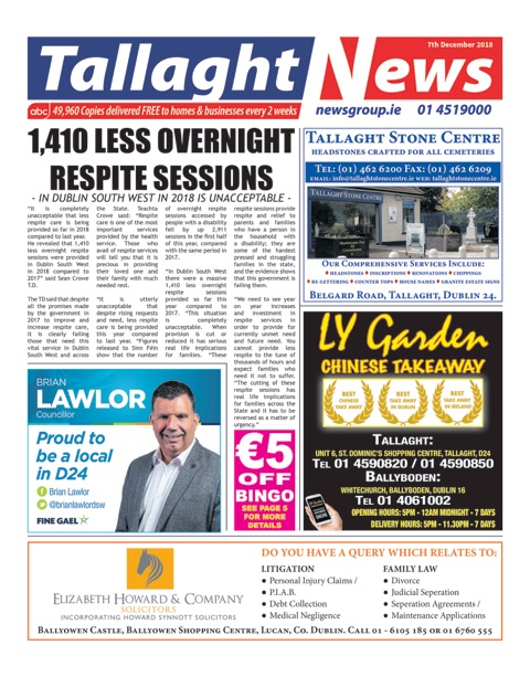 Tallaght News Front Page 7th Dec 2018