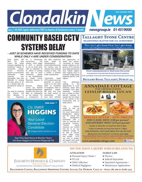 Clondalkin News Front Cover Jan 21st 2019