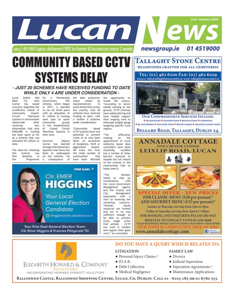 Lucan News Front Cover Jan 21st 2019