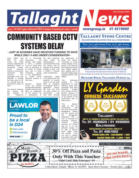 Tallaght News Front Page 21st Jan 2019
