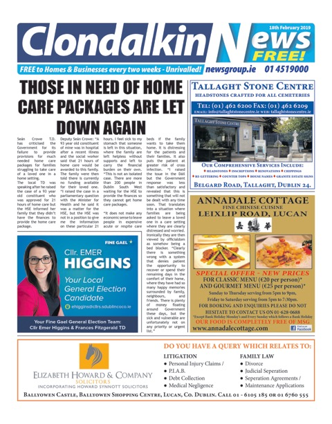 Clondalkin News Front Cover Feb 18th 2019