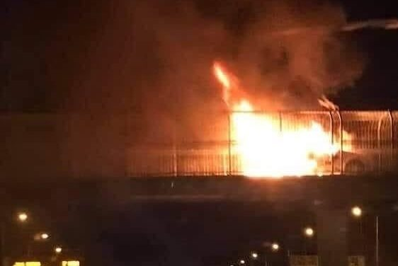 Fire on Pedestrian M50 Bridge at Tymon Park, Tallaght