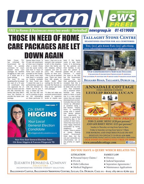 Lucan News Front Cover Feb 18th 2019