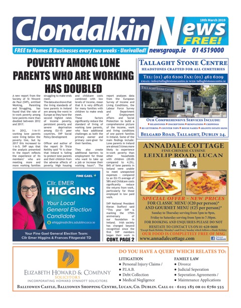 Clondalkin News Front Cover Mar 18th 2019
