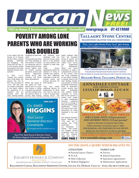 Lucan News Front Cover Mar 18th 2019