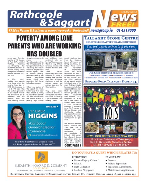 Rathcoole and Saggart News Front Cover 18th Mar 2019