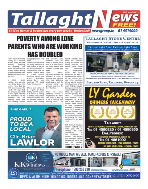 Tallaght News Front Page  18th Mar 2019