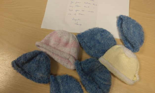 Hand knitted hats received by CMRF Crumlin for premature babies