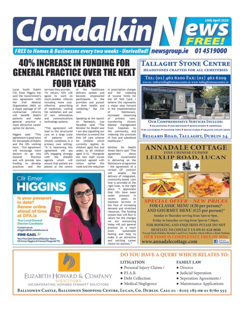 Clondalkin News Front Cover Apr 1st 2019