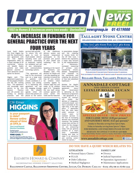 Lucan News Front Cover Apr 15th 2019