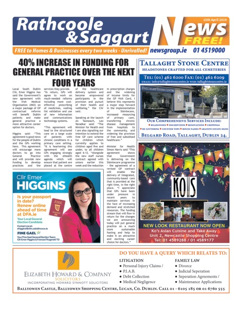 Rathcoole and Saggart News Front Cover 15th Apr 2019