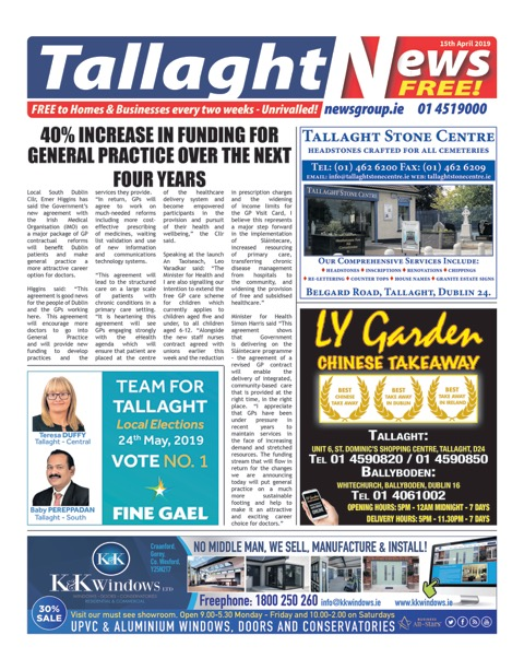 Tallaght News Front Page 15th Apr 2019
